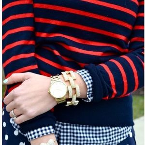 Red and blue striped pullover crewneck sweater